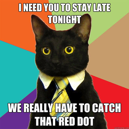Business cat meme about having to stay late at work to catch the red dot.